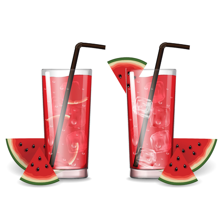 Watermelon juice with glass vector illustration