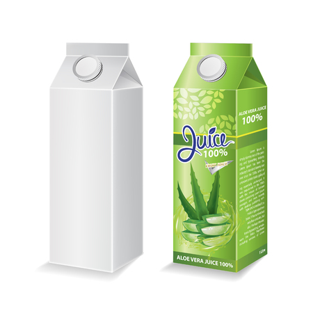 Aloe vera juice box package and with glass vector illustration Stok Fotoğraf - 121628809