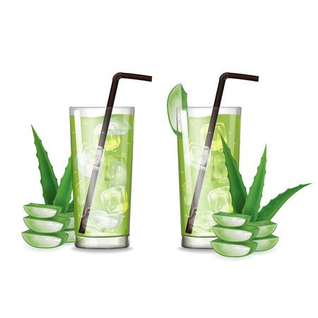 Aloe vera juice with glass vector illustration Stok Fotoğraf - 121628813