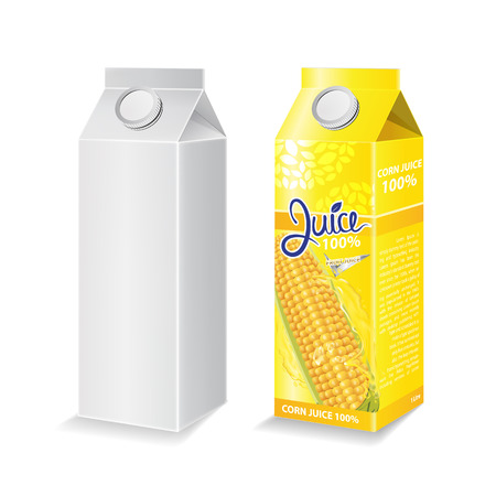 Corn juice box package and with glass vector illustration Stok Fotoğraf - 121628812