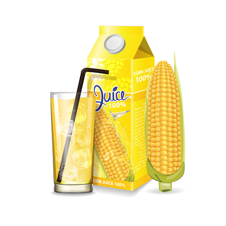 Corn juice box package and with glass vector illustration Stok Fotoğraf - 121628815
