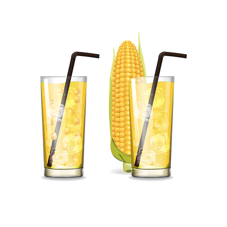Corn juice with glass vector illustration