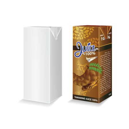 Tamarind juice box package vector illustration Stok Fotoğraf - 121628826