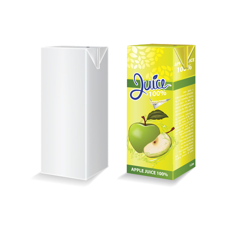 Apple juice box package vector illustration