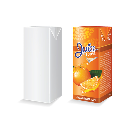Orange juice box package vector illustration Stok Fotoğraf - 121628829