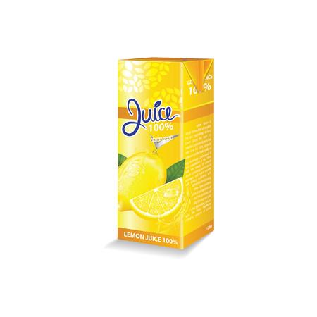 Lemon juice box package vector illustration
