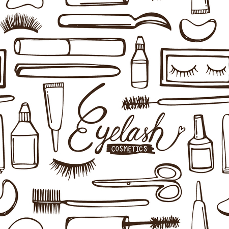 Eyelash pattern seamless background vector illustration