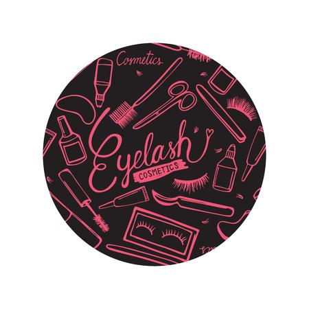 Eyelash background in circle vector illustration Çizim