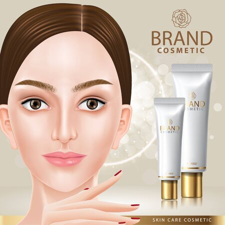 Beautiful woman and skin care cream banner vector illustration