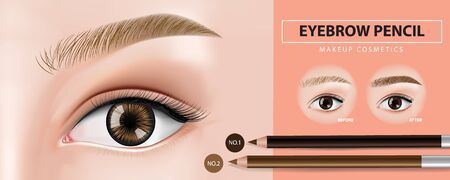 Eyebrows pencil banner design vector illustration Illustration