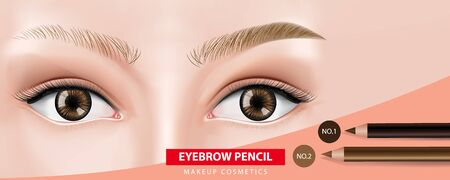 Eyebrows pencil banner design vector illustration 일러스트
