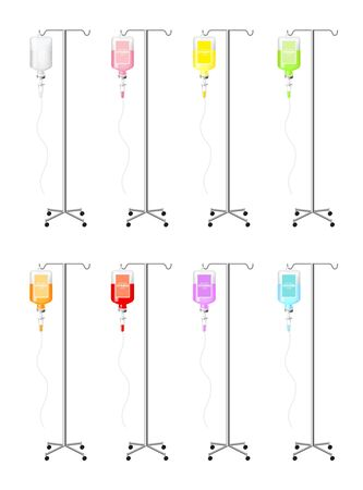 Bottle of vitamin saline and pole solution vector illustration