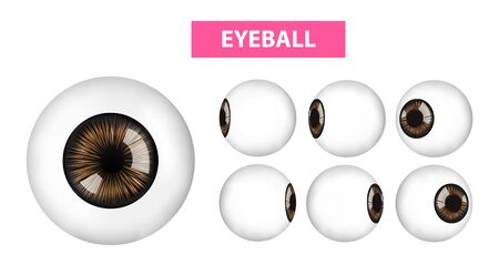 Eyeball in different views, vector illustration