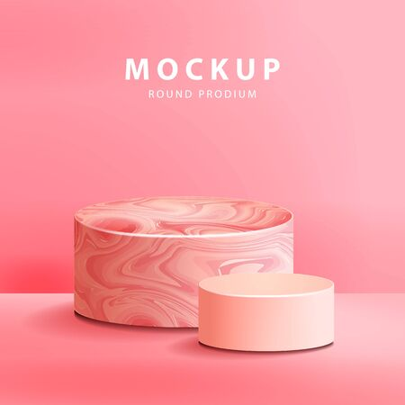 Pink marble texture with round podium vector illustration