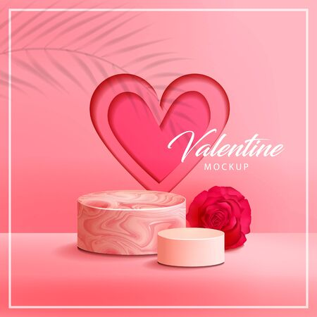 Pink marble texture with round podium , rose , and heart background vector illustration Illustration