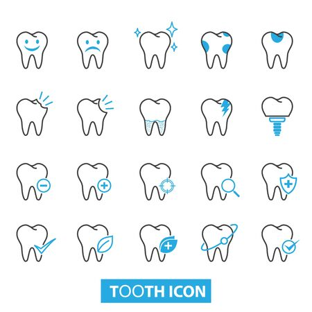 Set of tooth icons vector illustration