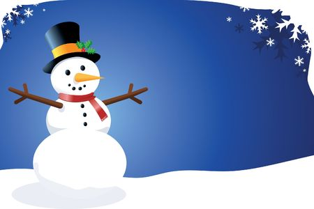 snowman vector: Vector Snowman in a Christmas  Winter Scene