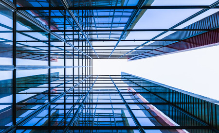 background designs: Glass building from perspectival view Editorial