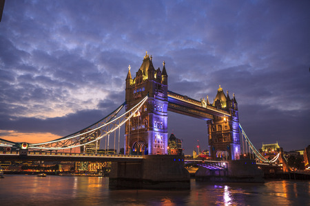 water tower: Tower Bridge at Sunset, London Stock Photo