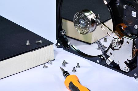 hard disk: A dismantled mechanical hard disk Editorial