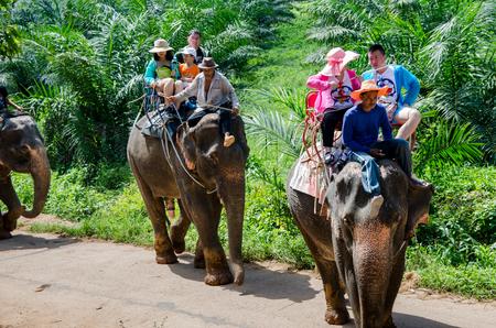 phangnga: Phang-Nga,Thailand-June 7,2016-Tourists riding elephants.