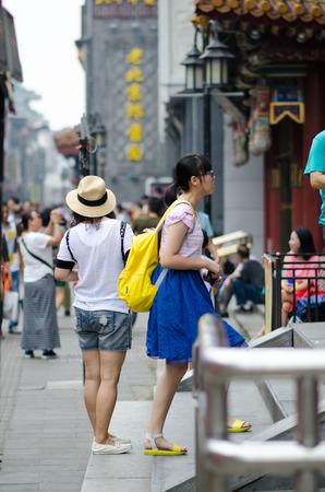 strangers: Beijing qianmen dashilan-Augest 2015-crowd in the qianmen dashilan street.Beijing qianmen dashilan In China