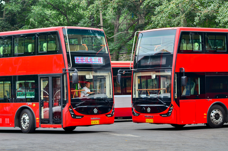 north gate: Beijing,China-July 2,2016:Double-layer bus tourism and sightseeing 3# line,at North Palace Gate station
