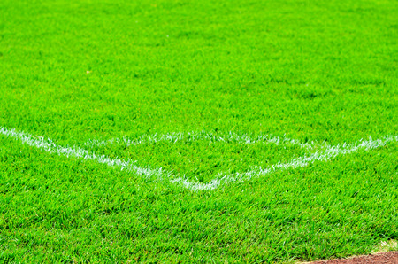 Corner lines detail on a soccer field. Stock Photo