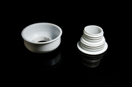 plastic pipe: Plastic pipe fittings with black backgroud Stock Photo