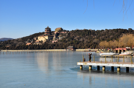 nebraska: Beijing,China-January 14, 2017-The lake was frozen in the Summer Palace in Beijing  China. Editorial