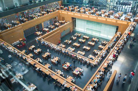 Beijing,China-July 2017-Wide angle view of the main reading room of The National Library of China. Stok Fotoğraf - 81679118