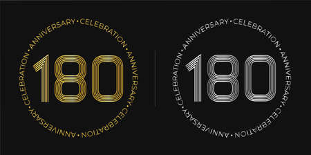 180th birthday. One hundred and eighty years anniversary celebration banner in golden and silver colors.