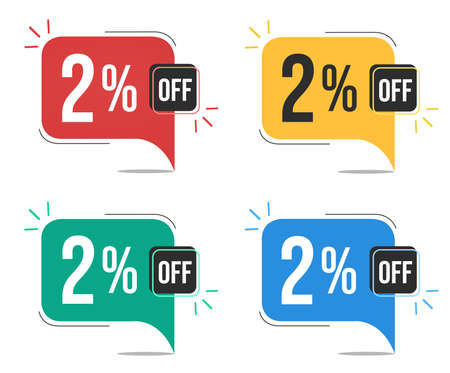 2% off. Red, yellow, green and blue tags with two percent discount. Banner with four colorful balloons with special offers vector.