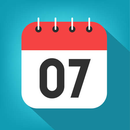 Calendar day 7. Number seven on a white paper with red border on blue background vector.