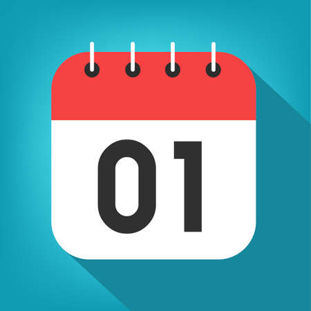 Calendar day 1. Number one on a white paper with red border on blue background vector.