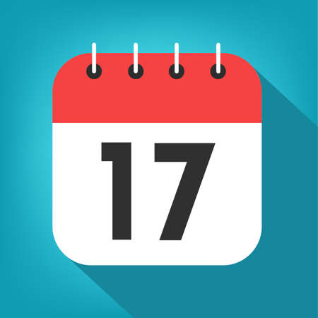 Calendar day 17. Number seventeen on a white paper with red border on blue background vector.