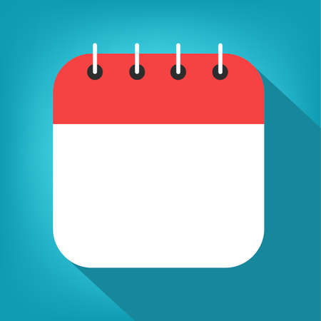Empty calendar with red border on blue background vector. Vektorové ilustrace
