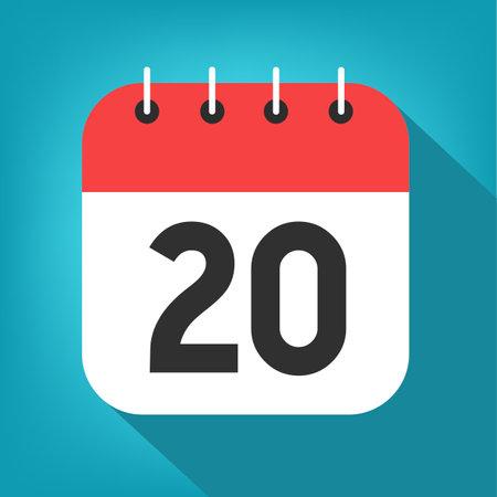 Calendar day 20. Number twenty on a white paper with red border on blue background vector. Vektorové ilustrace