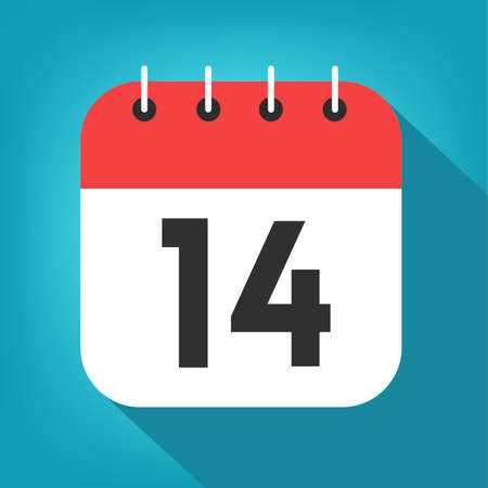 Calendar day 14. Number fourteen on a white paper with red border on blue background vector.