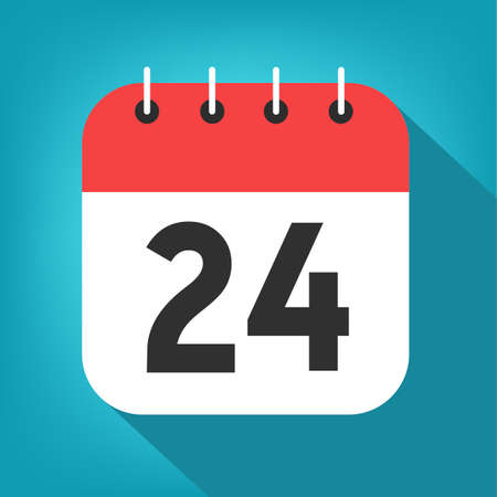 Calendar day 24. Number twenty-four on a white paper with red header on blue background vector.