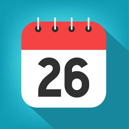 Calendar day 26. Number twenty-six on a white paper with red border on blue background vector.