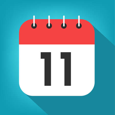 Calendar day 11. Number eleven on a white paper w.ith red border on blue background vector.