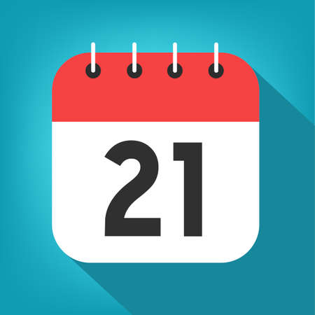 Calendar day 21. Number twenty-one on a white paper with red border on blue background vector.