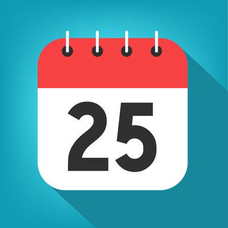 Calendar day 25. Number twenty-five on a white paper with red border on blue background vector. Vektorgrafik