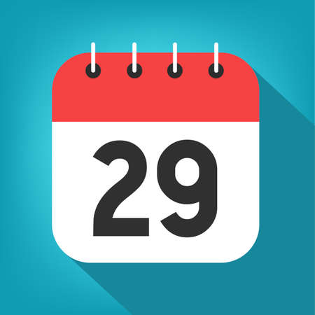 Calendar day 29. Number twenty-nine on a white paper with red border on blue background vector.