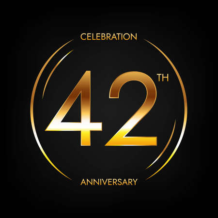 42th anniversary. Forty-two years birthday celebration banner in bright golden color.
