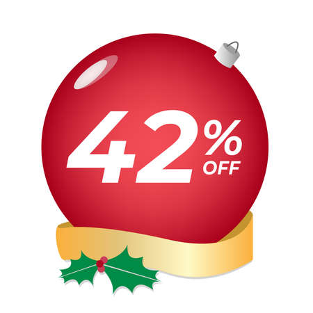 42% off. Forty-two percent discount. Christmas sale banner. Red bubble with ornaments on a white background vector.