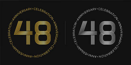 48th birthday. Forty-eight years anniversary celebration banner in golden and silver colors. Circular logo with original numbers design in elegant lines.