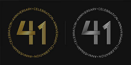 41th birthday. Forty-one years anniversary celebration banner in golden and silver colors. Circular logo with original numbers design in elegant lines.