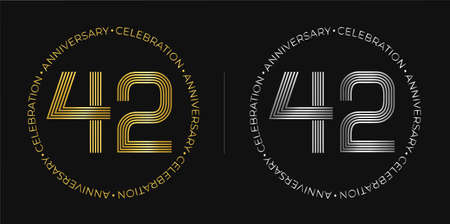 42th birthday. Forty-two years anniversary celebration banner in golden and silver colors. Circular logo with original numbers design in elegant lines.